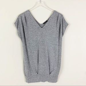 PAPERMOON V neck Bottom Banded Short Sleeve Top